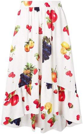 fruit print flared skirt