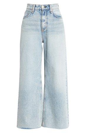 rag & bone Ruth Super High Waist Raw Crop Wide Leg Jeans (Cloudy) | Nordstrom