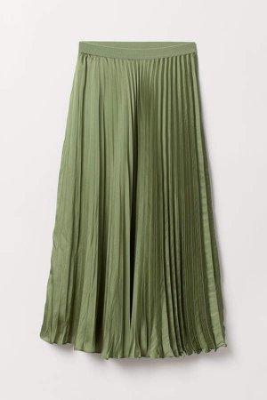 Pleated Satin Skirt - Green