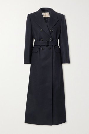 Truman Belted Double-breasted Wool-blend Coat - Navy