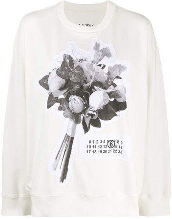 floral bouquet patch sweatshirt