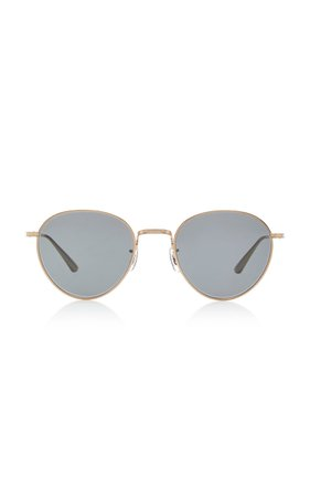 Oliver Peoples THE ROW Brownstone Round Metal Sunglasses