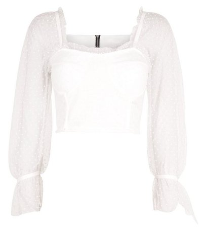 Cameo Rose White Spot Mesh Bustier Crop Top | New Look