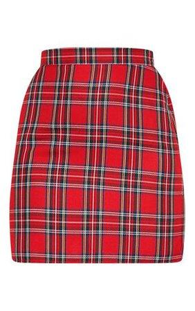 Red Tartan Woven Mini Skirt   Skirts   PrettyLittleThing