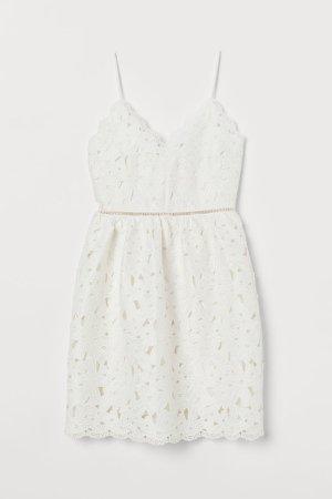 Lace V-neck Dress - White