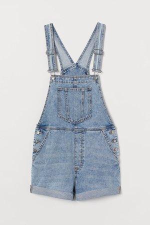Denim Overall Shorts - Blue
