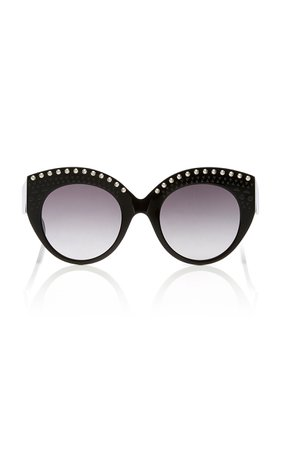 Alaia Sunglasses Le Vienne Cat-Eye Studded Acetate Sunglasses