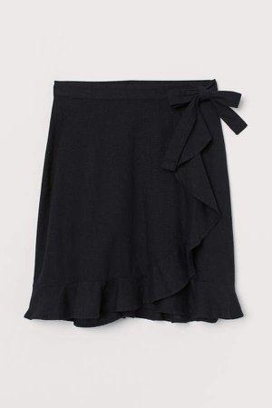 Linen-blend Wrap Skirt - Black