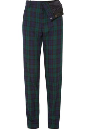 Y/PROJECT | Asymmetric plaid twill straight-leg pants | NET-A-PORTER.COM