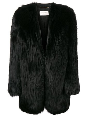 Black Saint Laurent Oversized Fur Coat | Farfetch.com
