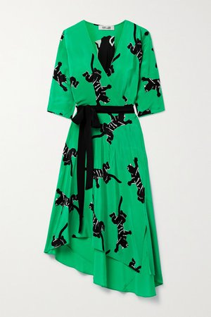 Eloise Asymmetric Printed Silk Crepe De Chine Wrap Dress - Green