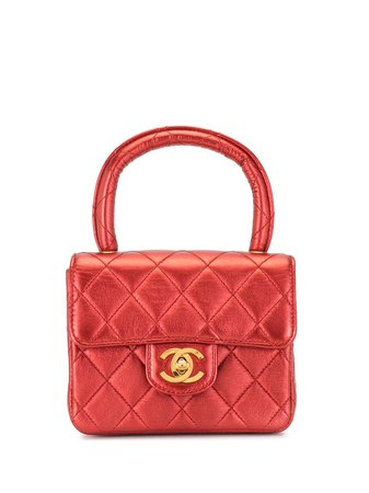 Shop red Chanel Pre-Owned 1992 quilted mini handbag with Express Delivery - Farfetch