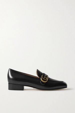 Black Marmont logo-embellished leather loafers | Gucci | NET-A-PORTER