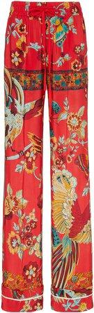 Floral-Print Crepe De Chine Flared Pants