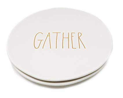 """Amazon.com: Rae Dunn By Magenta 2 Piece GATHER 11"""" Ceramic LL Dinner Plates With Orange Letters 2019 Limited Edition: Kitchen & Dining"""