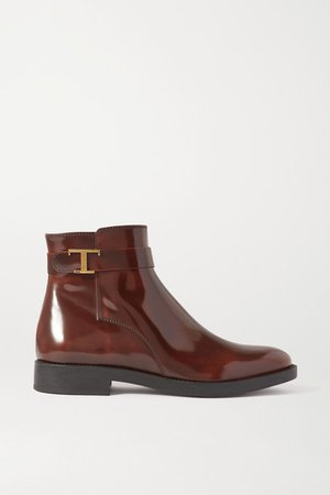 Logo-embellished Patent-leather Ankle Boots - Brown