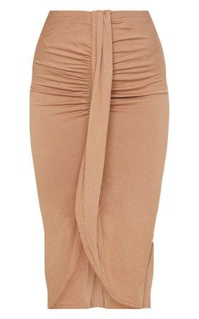 Camel Jersey Panel Front Midi Skirt | PrettyLittleThing USA