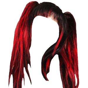 Black and Red Pigtails Hair PNG