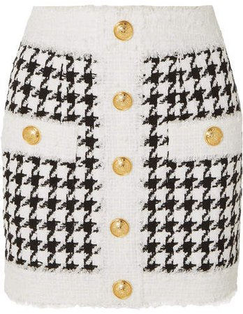 Button-embellished Houndstooth Tweed Mini Skirt - White