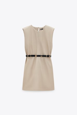 BELTED FAUX LEATHER DRESS   ZARA United States