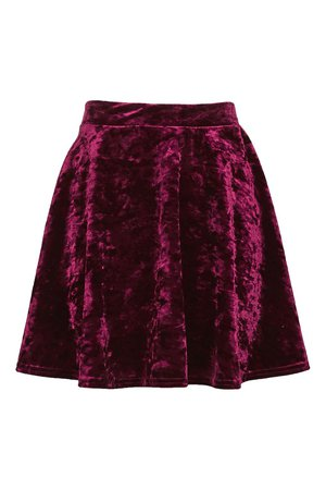 Dark Raspberry Crushed-Velvet Skirt