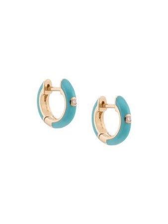 Ef Collection 14kt yellow gold turquoise enamel diamond earrings