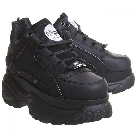 Buffalo Boots Womens 1339-14 Chunky Platform Trainers Shoes - Black Nubuck