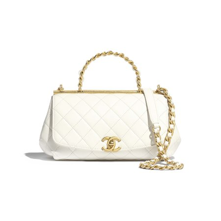 Lambskin & Gold-Tone Metal White Small Flap Bag with Top Handle | CHANEL