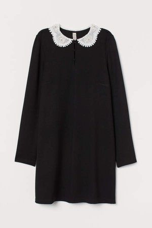 Dress with Lace Collar - Black