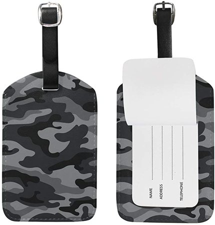 Amazon.com   Travel Luggage Tag Army Camouflage Black And Gray PU Leather Baggage Suitcase Travel ID Bag Tag, 1Pcs   Luggage Tags
