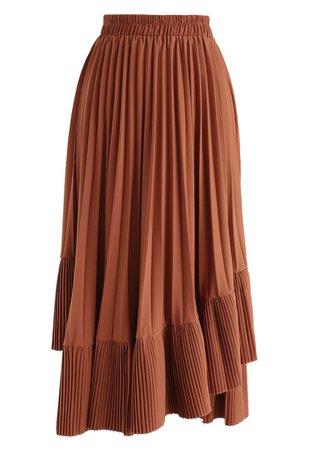 Asymmetric Hem Pleated Midi Skirt in Caramel - Retro, Indie and Unique Fashion