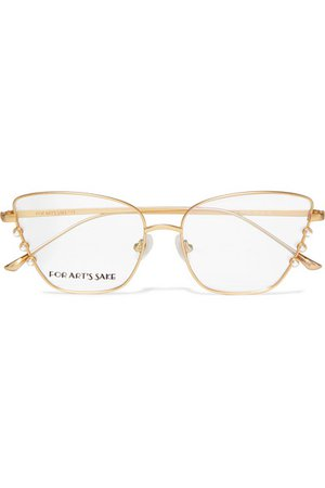 For Art's Sake | Perla cat-eye faux pearl-embellished gold-tone optical glasses | NET-A-PORTER.COM