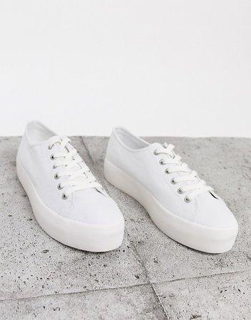 Vagabond Peggy flatform sneaker in white canvas   ASOS