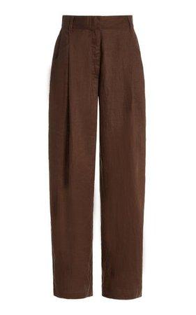 Pleated Linen Straight-Leg Trousers By Aexae | Moda Operandi