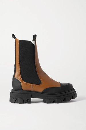 Tan Rubber-trimmed leather Chelsea boots | GANNI | NET-A-PORTER