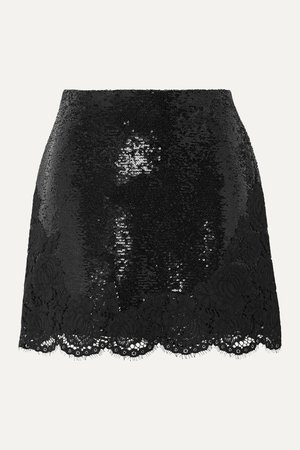 Black Lace-trimmed sequined chiffon mini skirt   Philosophy di Lorenzo Serafini   NET-A-PORTER