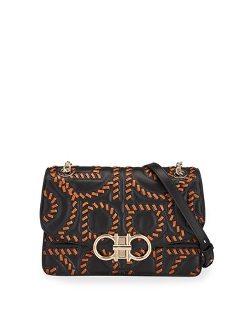 Salvatore Ferragamo Gancio Quilting Embroidery Crossbody Bag | Neiman Marcus
