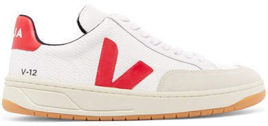 V-12 Mesh, Leather And Nubuck Sneakers - White