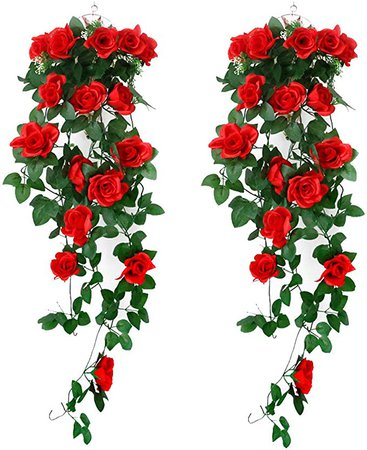2 Packs Artificial Haning Plants - Fake Silk Rose Flowers Hanging Garland Rattan Ivy Vine for Wedding Party Garden Wall Decoration, Red Flowers: Amazon.ca: Home & Kitchen