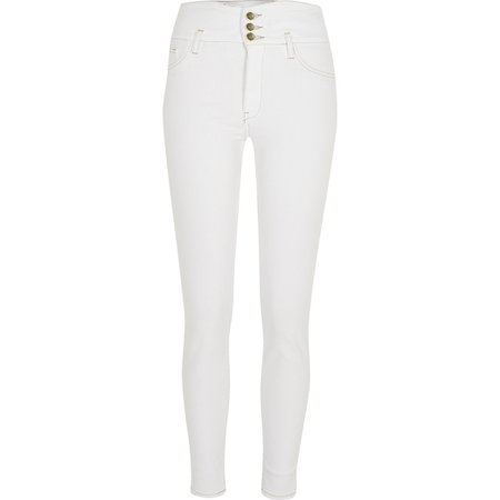 White button Hailey high rise skinny jeans | River Island