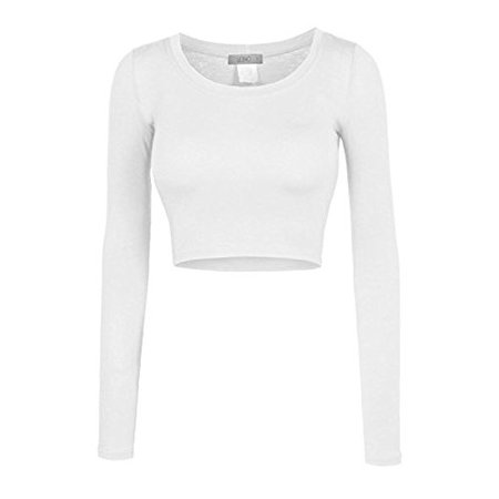 White Long Sleeve Crop Top