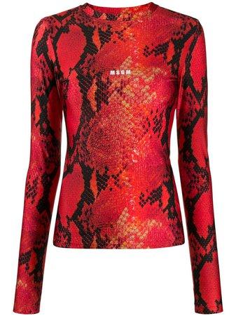 MSGM snakeskin-print long-sleeved Top - Farfetch