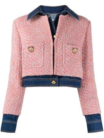Moschino tweed-overlay Denim Jacket - Farfetch