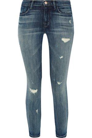 J Brand | Alana cropped distressed high-rise skinny jeans | NET-A-PORTER.COM