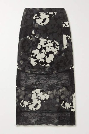 Paneled Floral-print Silk-chiffon And Lace Midi Skirt - Black