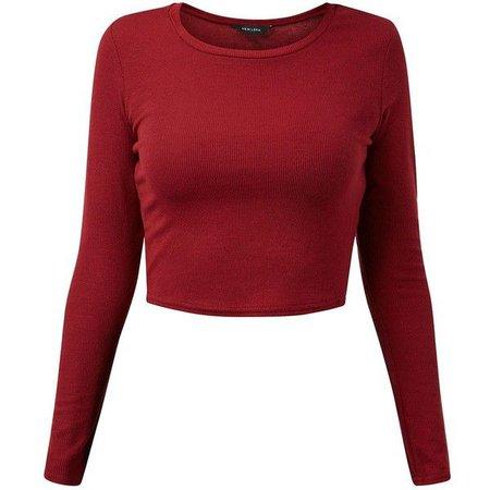 Long Sleeved Red Crop Top