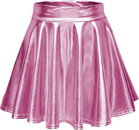 Urban CoCo Shiny Flared Pleated Mini Skater Skirt