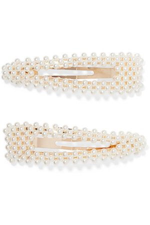 Loeffler Randall | Set of two gold-tone faux pearl hair clips | NET-A-PORTER.COM
