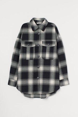 Cotton Flannel Shirt - Black