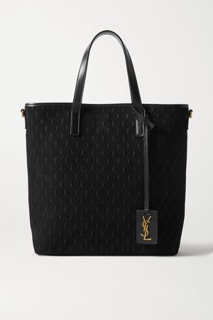 Black Mini leather-trimmed embossed suede tote   SAINT LAURENT   NET-A-PORTER